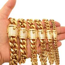 18K Gold Silver All Stainless Steel cuban chain and clasp of zircon setting hiphop style fashion necklace for Men and Women