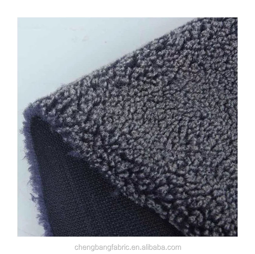 Chengbang Knitting Ready to Ship 500g front side black with white bleching sherpa berber fleece fabric