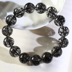 Natural black rutilated quartz bracelet