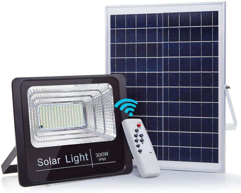 300W Solar Flood Lights, 6500 Lumens LED Outdoor IP67 Waterproof with Remote Control