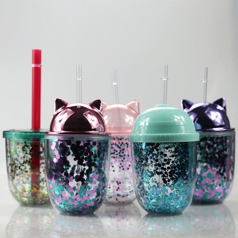 Hot Selling Double Layer Cute Plastic Belly Cup Mini Glitter Cat Ear Acrylic Cup Coffee Mugs With Straw