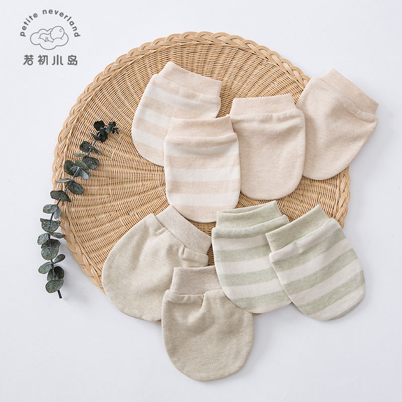 Top quality 100% organic cotton knitted newborn warm baby gloves scratch teething mittens