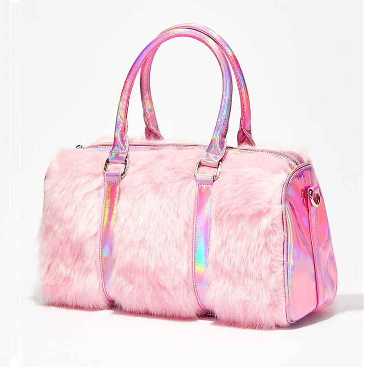 2020 Winter Fashion Holographic Laser Pu Pink Fur Duffel Bag Ladies Plush Travel Duffle Bag For Women
