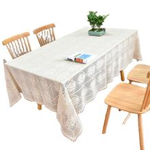 American country lace crochet tablecloth decorative cover coffee table white tablecloth