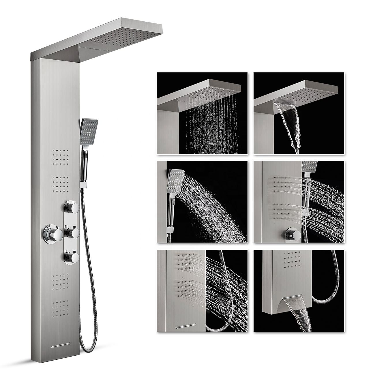 ROVATE Waterfall Thermostatic Shower Panel Stainless Steel 4 Massage Sprays Shower Bath Panel , 3-Function Hand Shower Tower