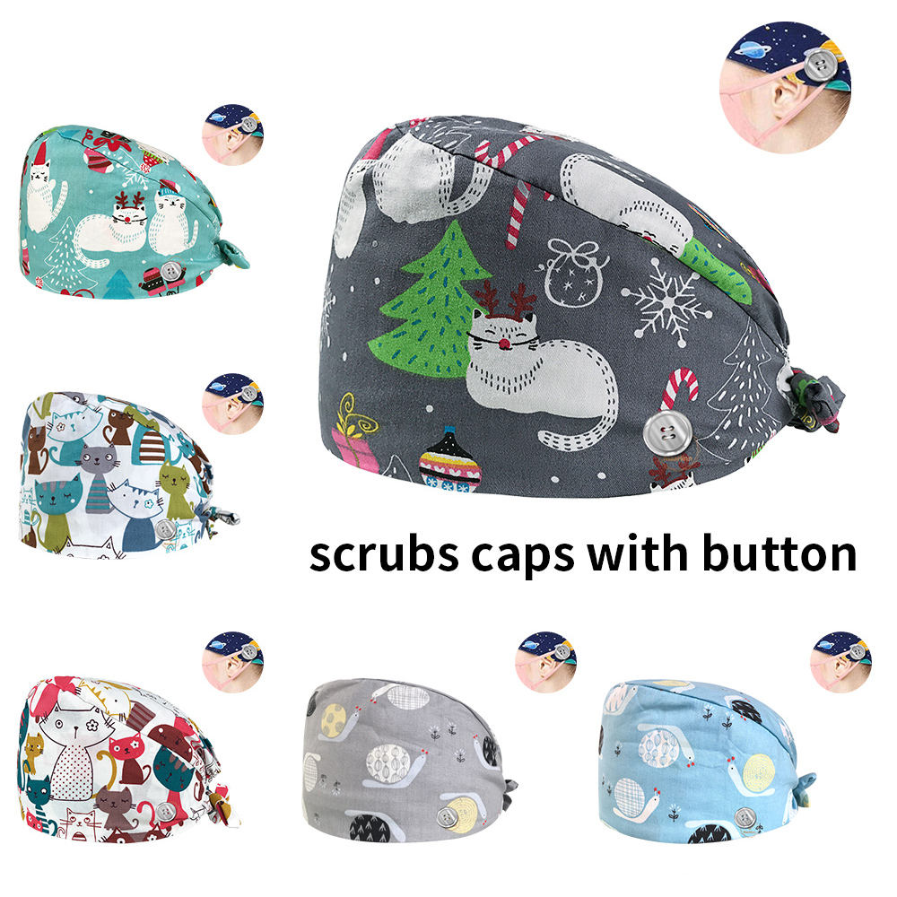 New Hospital medical caps Printing Doctor working Hats Unisex nurse accessories Surgery work cap Elastic veterinary Surgical Cap