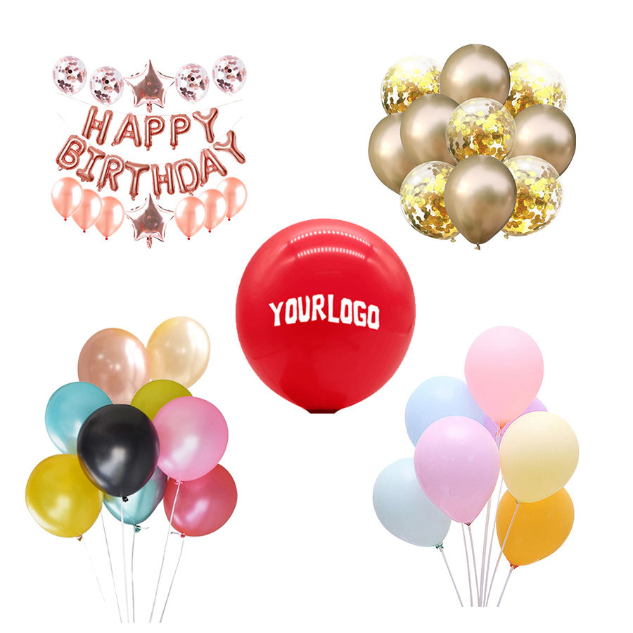 "Birthday Balloons Cheap Custom Logo Printed Ballon 10 12"" Inch Personalized Latex Advertising Balloons For Happy Birthday Wedding Party Decoration"