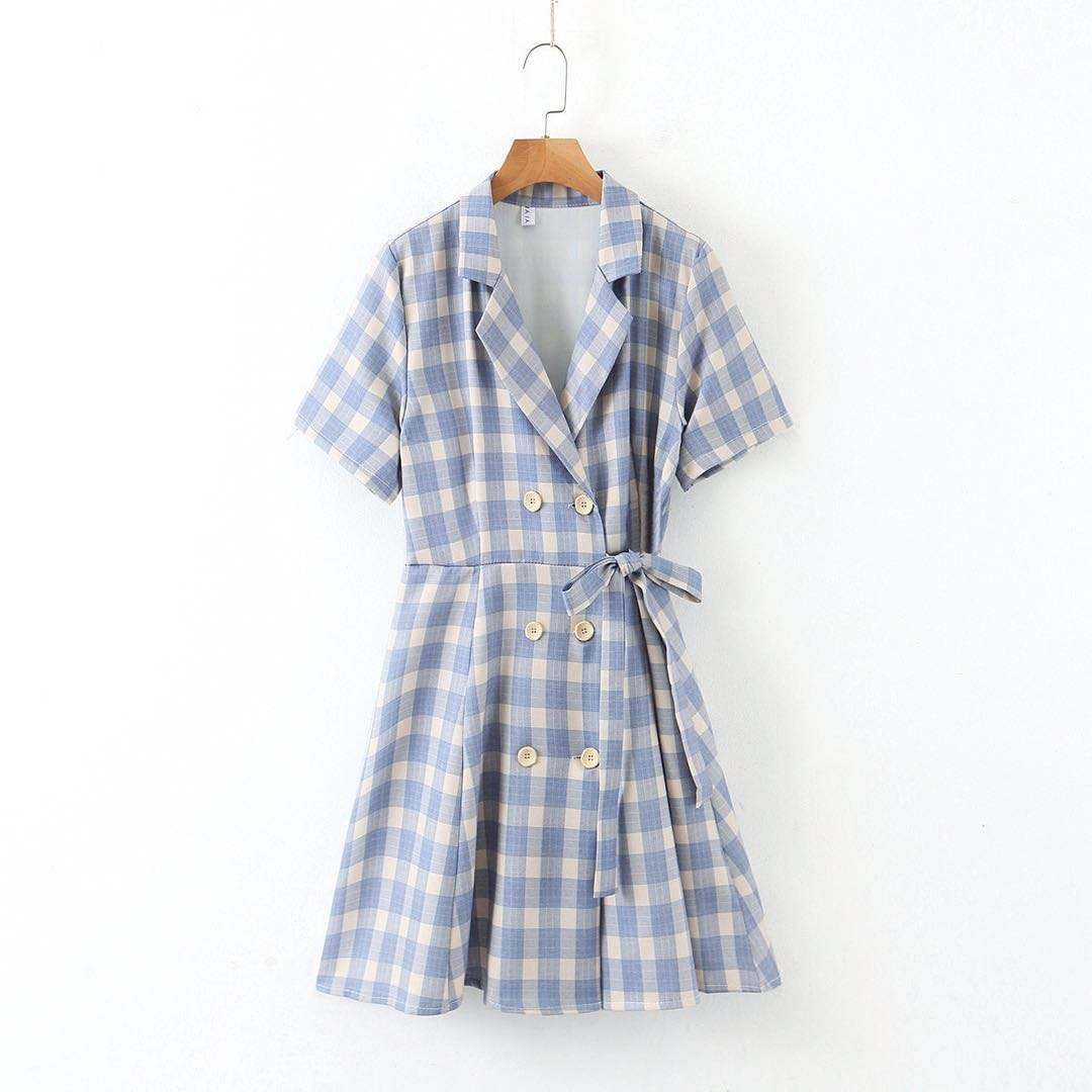Korean version of the popular fashion plaid waistband loose version of women's short style dress
