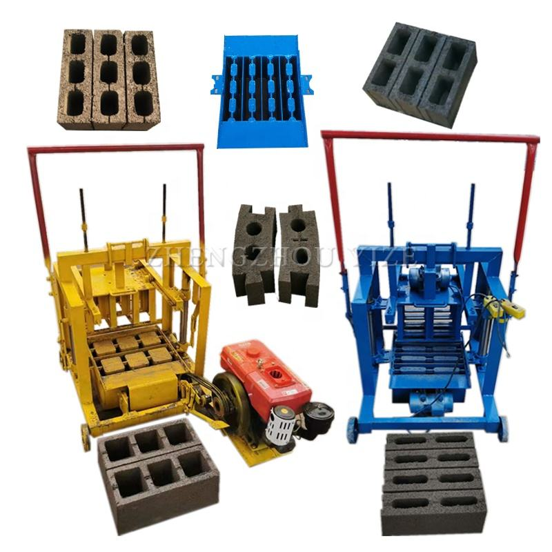 Mobile electric diesel model concrete hollow block making machine/Manual solid cement brick moulding machine