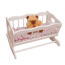Best sale Pretend play Wooden Doll baby Bed Rocking Crib for kids