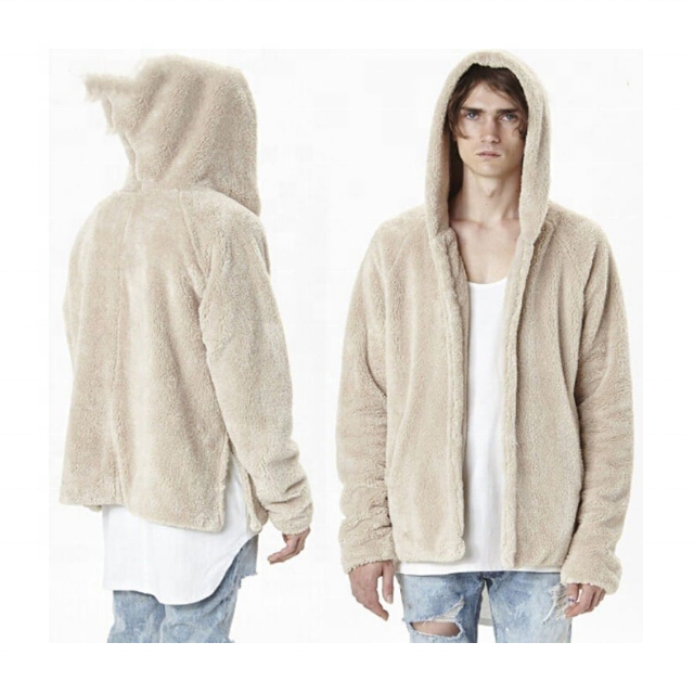 Top Quality Custom Street Wear Men Blank Fleece Sherpa Hoodie With Custom Logo