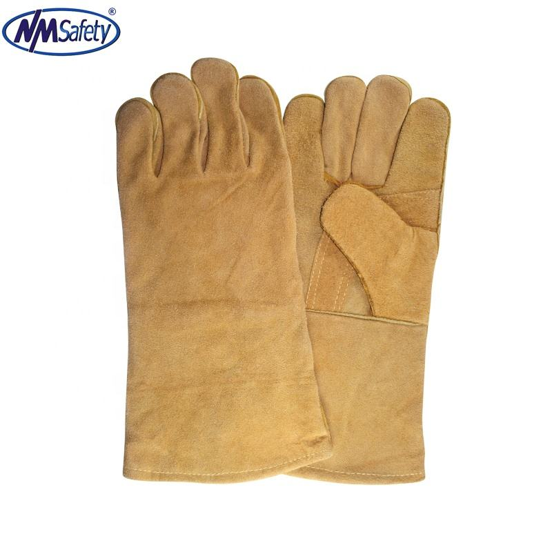 NMSAFETY RED cow split leather welder glove