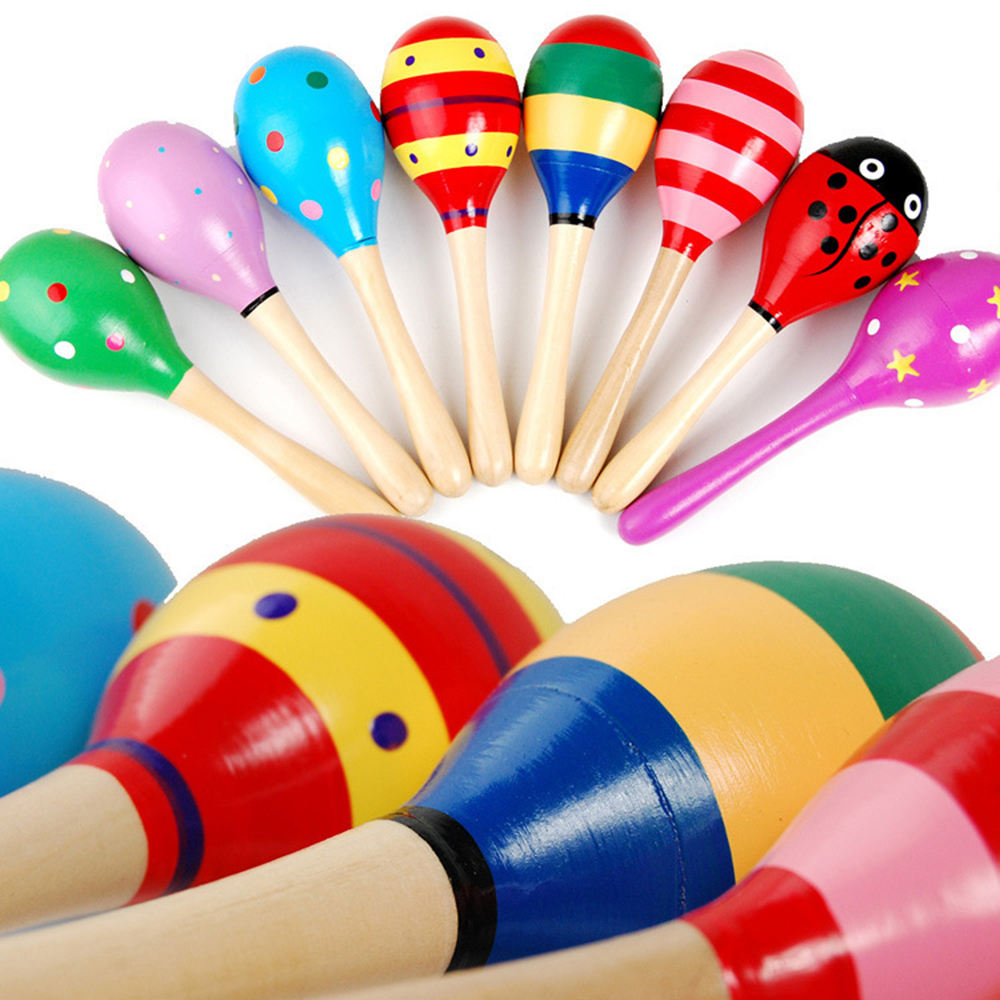 Hot-sale colorful musical instruments wooden mini music maraca toy maracas for children
