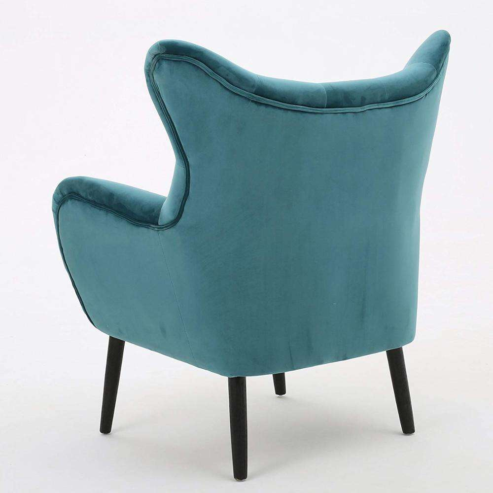 Packaging Customization Velvet Chair Alyssa New Soft Arm Accent Wing Back With Wood Manufacturer