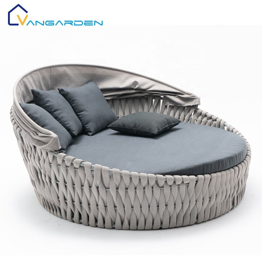 Modern Luxury Hotel Garden Aluminum Rope Chaise Lounge Daybed Sunbed Outdoor Furniture