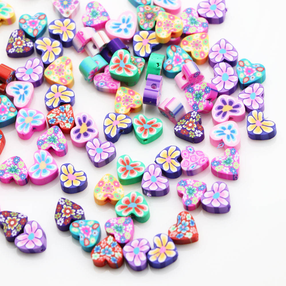 New Fashion Mixed Color Heart Shaped Flower Printed Polymer Clay Spacer Beads For DIY Jewelry Decoration Finding