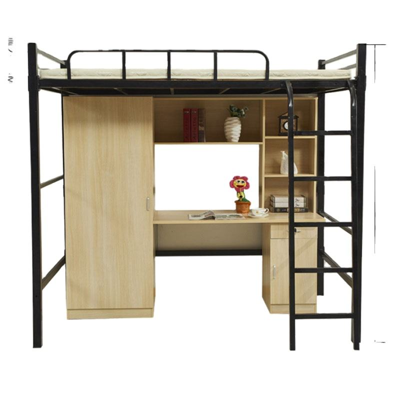 bed queen size bed sheet set home frame metal loft bunk bed with wooden cabinet for kids