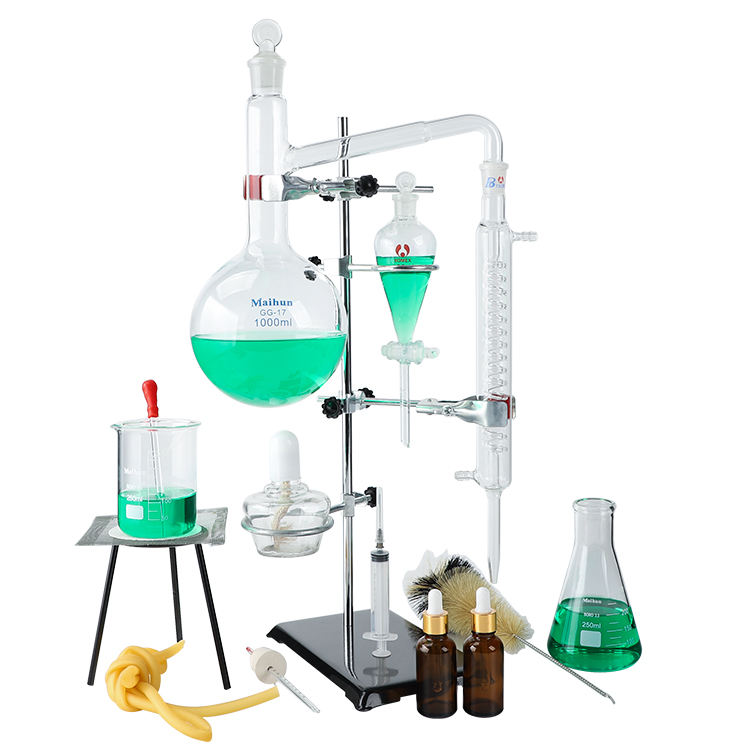 Chine fournitures 1000ml distillation ensemble de verrerie verrerie De Laboratoire Purificateur D'eau Distillateur Verrerie kit