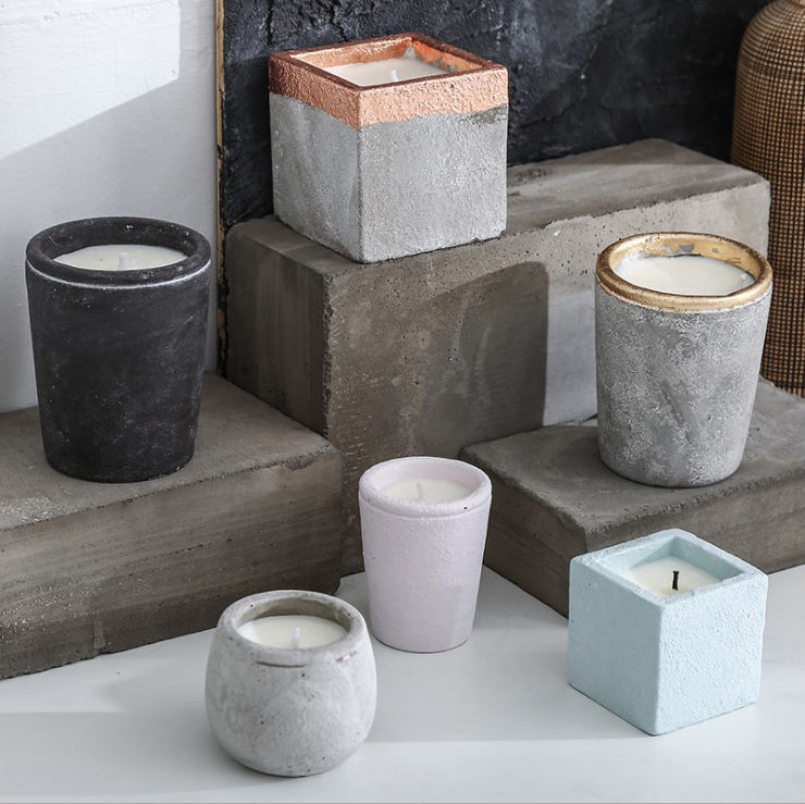 Customized Modern Cement Tealight Candle Holder Table Decorating Home Goods
