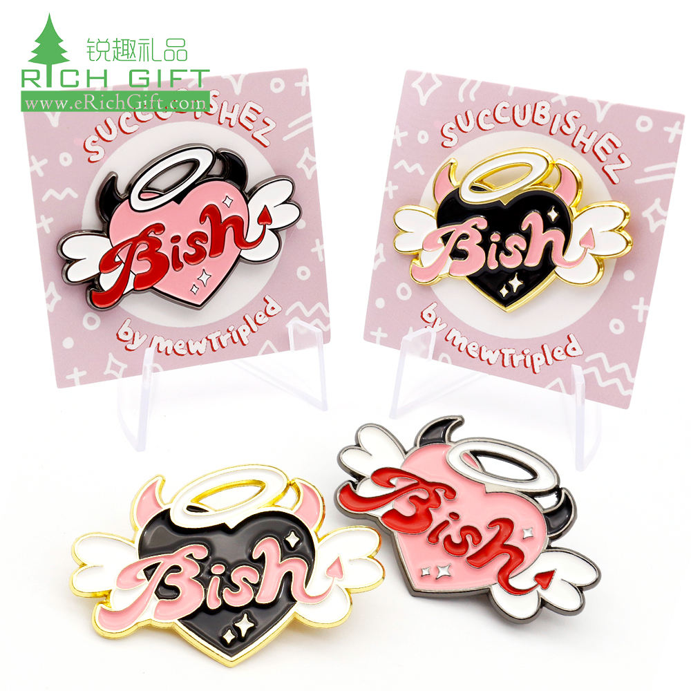 High quality cheap price metal crafts 3d logo angel cat badge custom made hard soft enamel lapel pin with backing card for sale