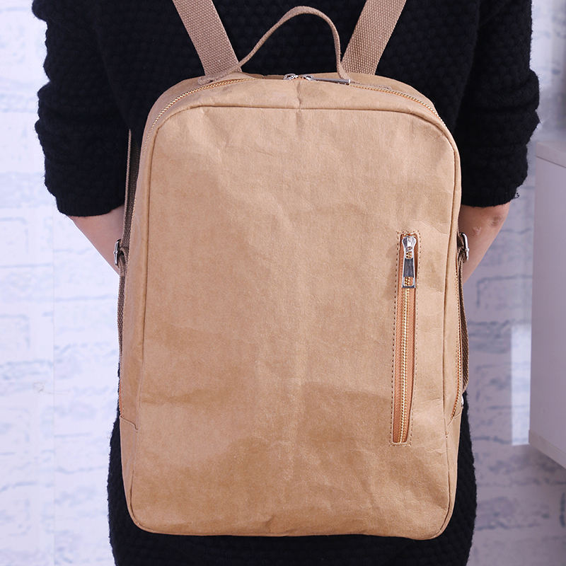 Boshiho RTS Eco Friendly Paper Backpack Low MOQ 14 inch laptop bag Washable kraft paper backpack