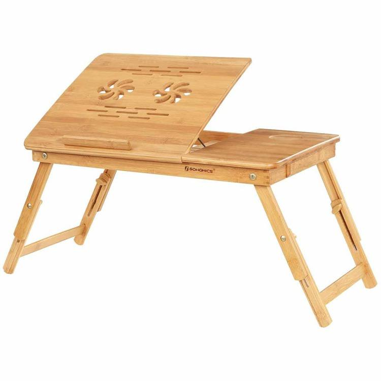 SONGMICS escritorio para mesa de bambu Adjustable Breakfast Bed Tray Table Laptop Bamboo Folding Computer Desk with Drawer