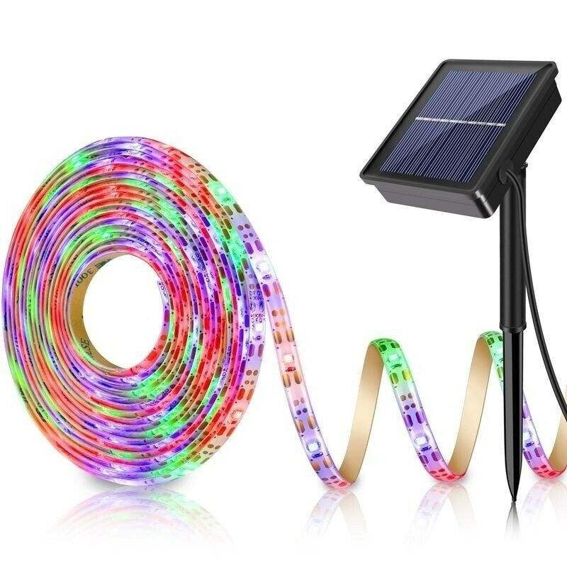 5M RGB Solar Powered LED Light Strip 150 LEDs 2835 SMD Outdoor Waterproof IP65 Flexible Adjustable String Lights Ribon Tape Lamp