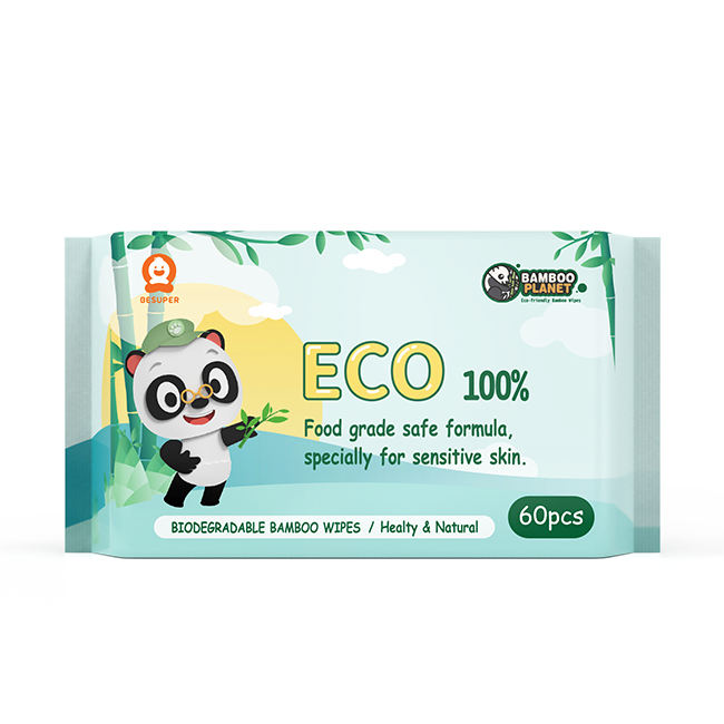 BESUPER 100% Bamboo Natural Fabric Biodegradable baby wet wipes/ organic baby wipes/ Single Packing Face Tissues