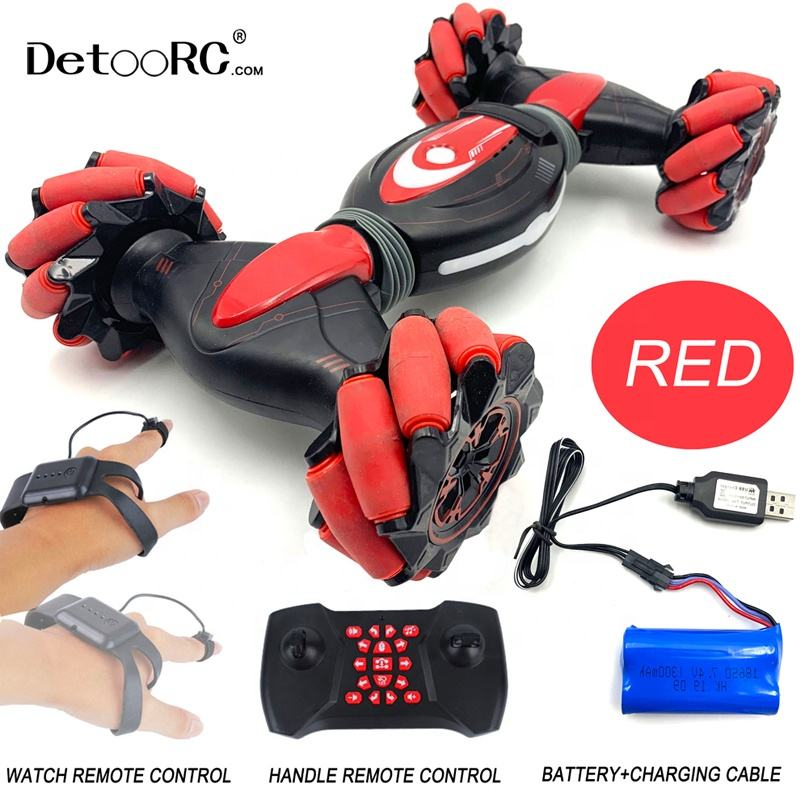 Detoo remote control car double side rc cars with watch gesture off road vehicle with light and music rc drift car