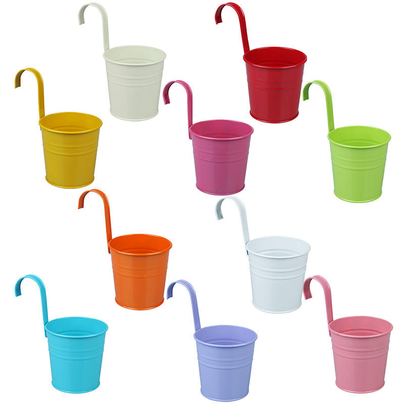Vlovelife 10pcs Colorful Hanging Flower Pot Metal Flower Pot with Detachable Hook Fence/Balcony/Deck Outdoor Hanging Pot