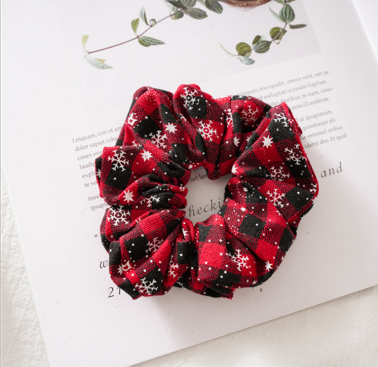 Girls Elastic Hair Scrunchies Accessories New Red black buffalo Plaid Snowflake Christmas holiday princess Hair Bands