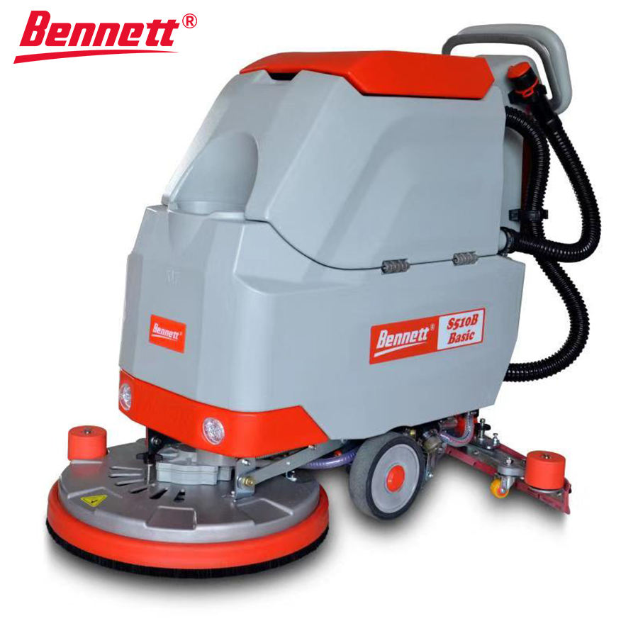 Bennett S510B Basic concrete floor cleaning machine,Portable compact walk behind industrial battery powered floor scrubber dryer