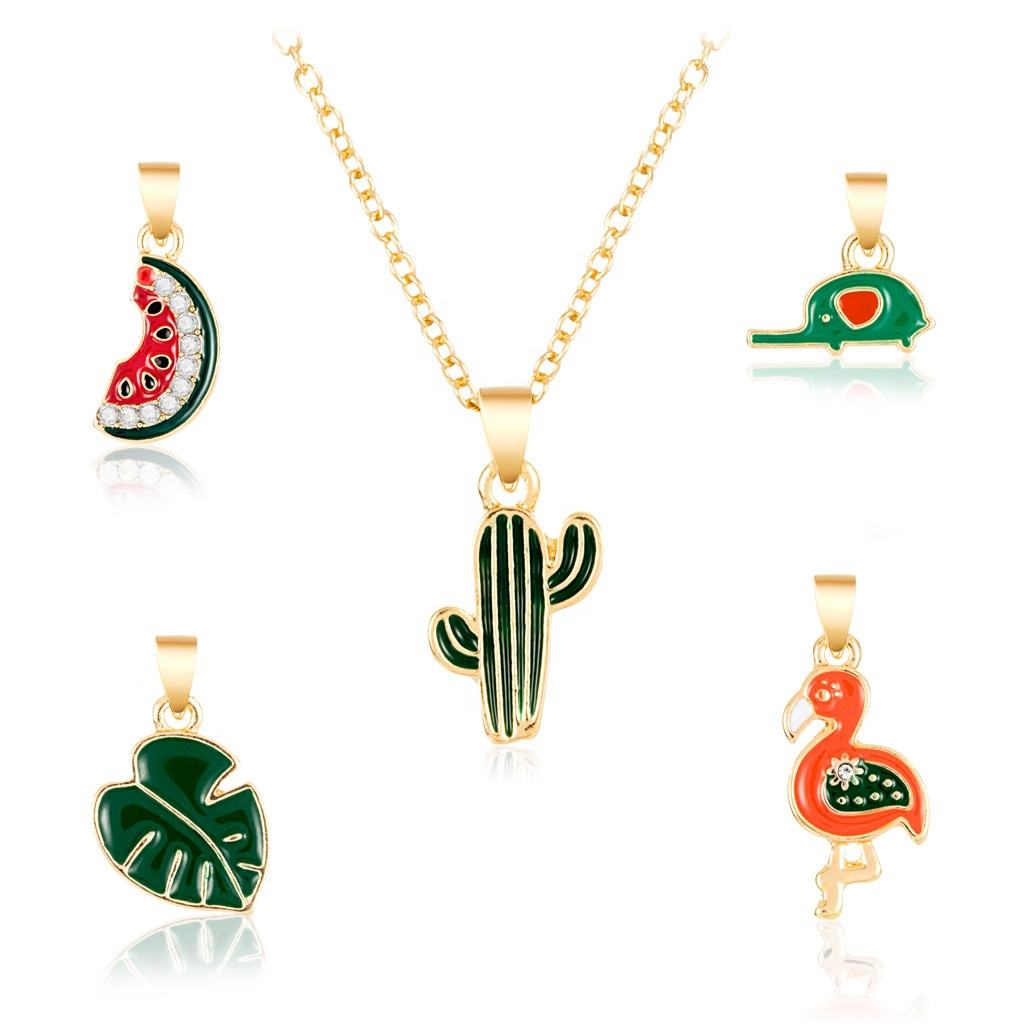 <span class=keywords><strong>Flamingo</strong></span> Cactusvijg Bladeren Watermeloen Olifant Dainty Sieraden Enamel Charm <span class=keywords><strong>Ketting</strong></span>