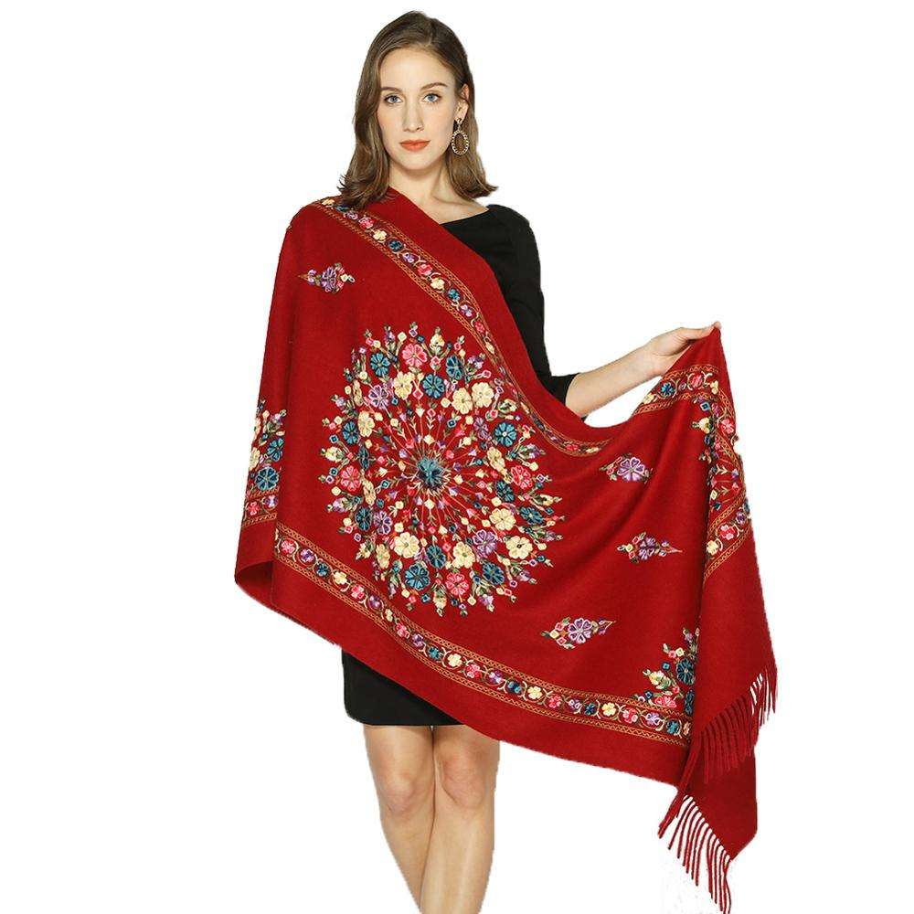 Custom Embroidered Scarf Long Blended Wool Dupatta Red Hijab