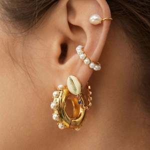 Europe and America gold plated alloy pearl earring without hole ear cuff no piercing