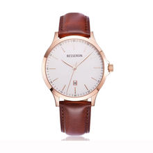 High Quality Oem Custom Logo Unisex Watch Rose Gold Plated Leather Mesh Band Watch