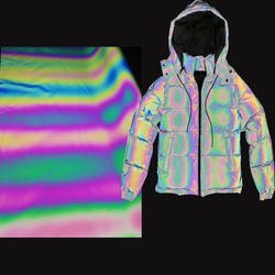 cheap fashionable clothing usage 1.4m width 100% polyester holographic iridescent rainbow reflective fabric for fashion jacket
