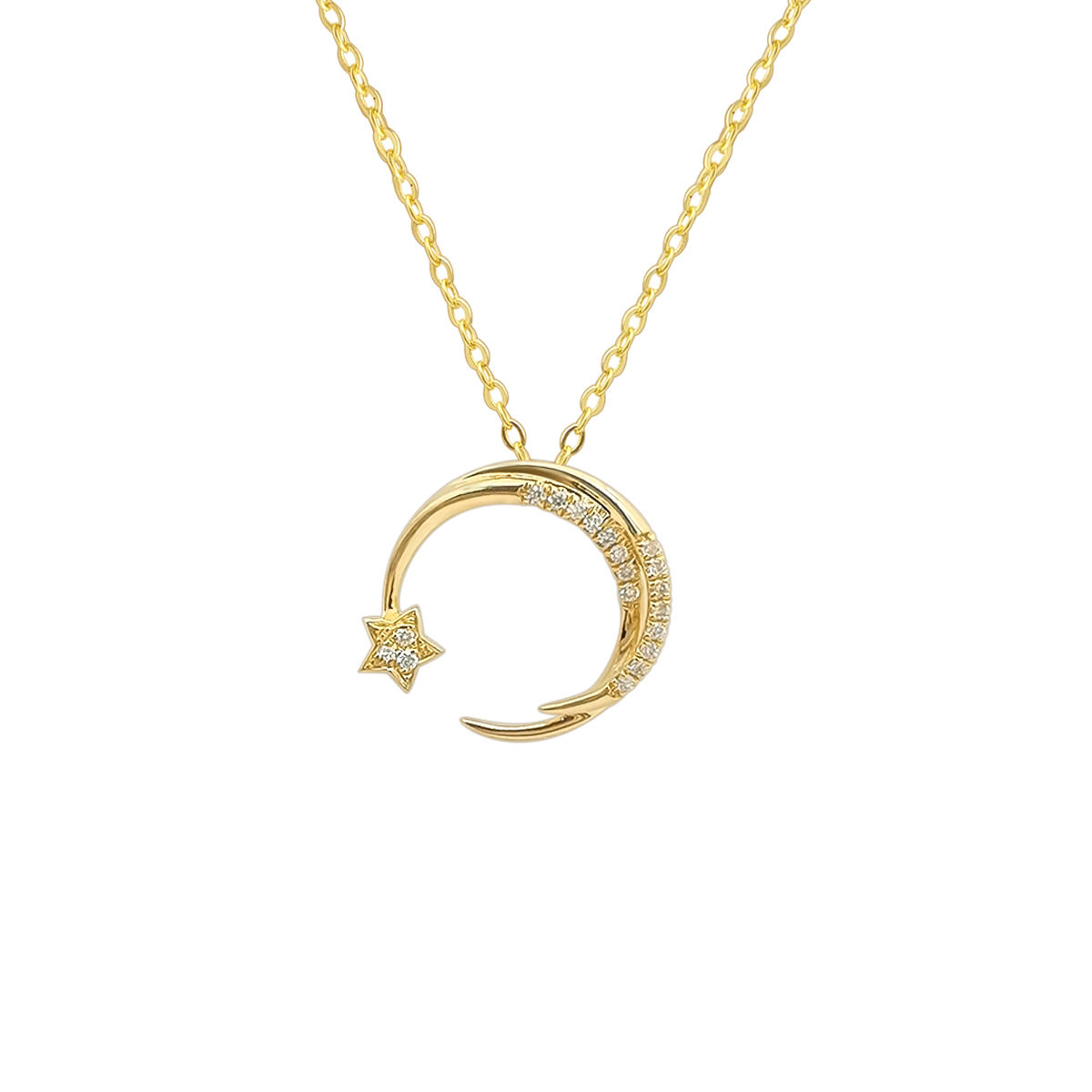 New Arrival 18k Yellow gold Necklace Star Moon Pendant with Natural Diamond Customized Design