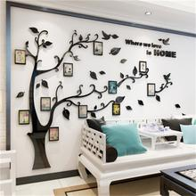 S:100*138cm 3D Crystal Tree Wall Art Sticker With Acrylic Photo Frame For Home Bedroom Living Room Decoration