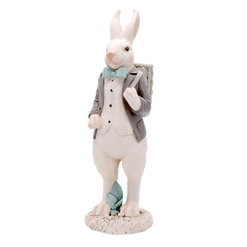 China home decor wholesale resin rabbit statues with easter basket