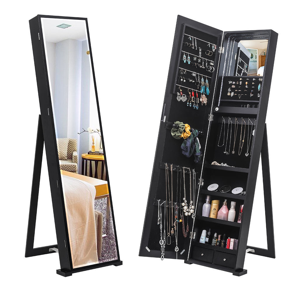 Free Shipping New Design Armoire Led Storage Wooden Mirror Upright Standing Jewelry Cabinet