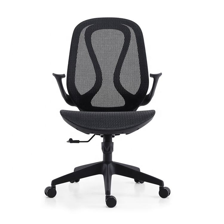 Lift meeting chair black mesh fabric for office chair with adjustable height arm
