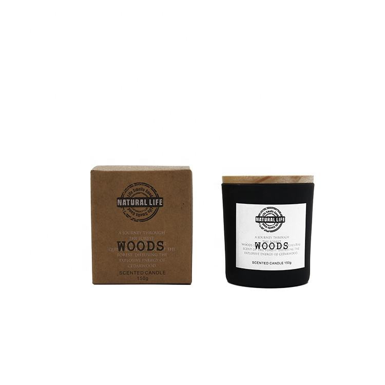 Wholesale High Quality Scented Soy Wax Candle in Black Glass jar with wood lid with gift box