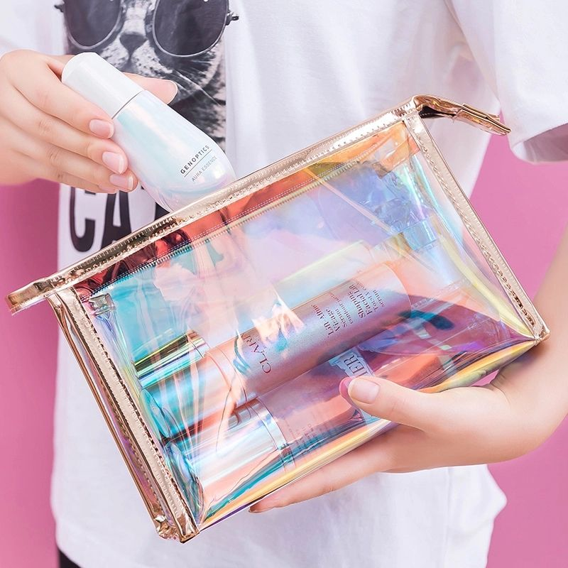 Custom Transparent TPU PVC Travel Makeup Storage Bag Waterproof Laser Clear Holographic Cosmetic Bag
