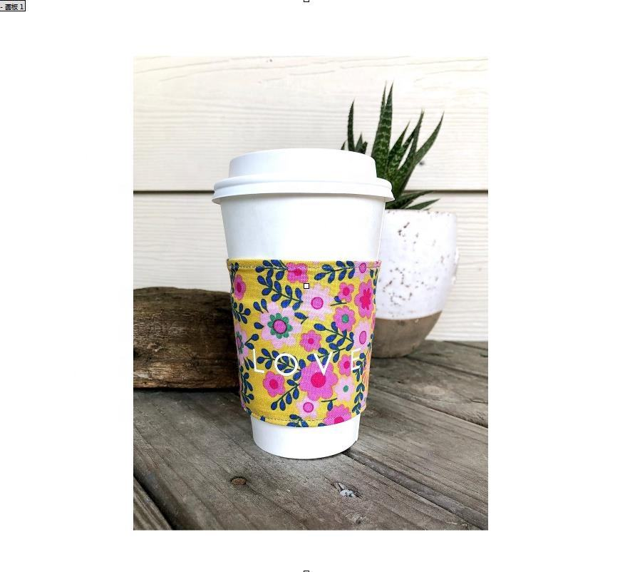 8oz , 10oz , 12oz and 16oz , 20oz Cold hot drinking fabric printed quilted cup sleeve wrap Insulated Coffee Cup Holder