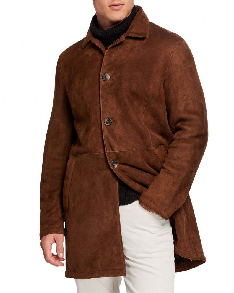 Wholesaler Men's Genuine cowhide suede Leather Jacket with buttons for spring and Autumn