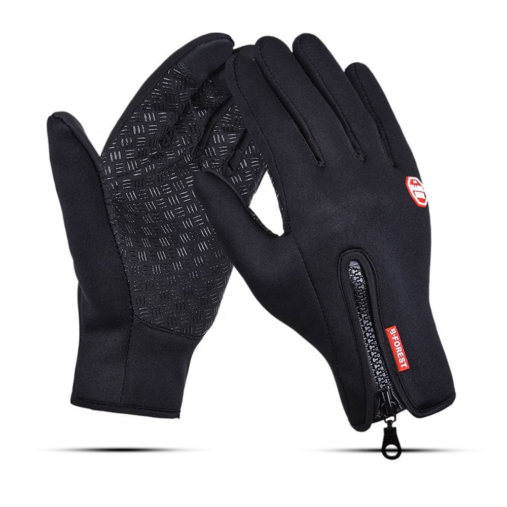 Waterproof Warm Outdoor Winter Touchscreen Zipper Gloves for Anti Slip Outdoor sports gloves