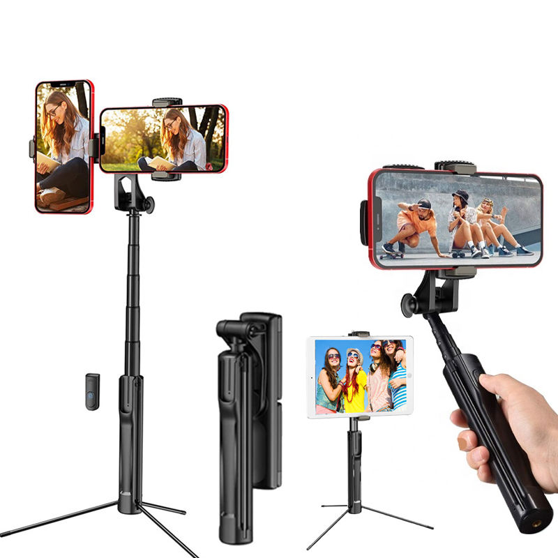 CYKE A22 0.8M Universal Bluetooths Remote Selfie Stick Tripod 360 Rotating Phone Stand Versatile 3 In 1 Selfie Stick Forビデオ