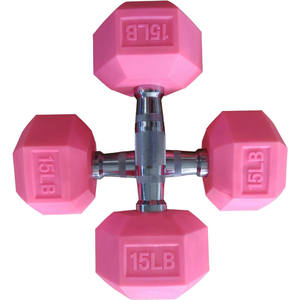 2020 Fashion and beautiful new Design Non-smell Pink Rubber Coated Hex Dumbbell