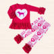 14th of Feb.Valentine's day kid clothes toddler beautiful children clothing hot pink set baby girls outfit